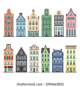 Set of 12 Amsterdam old houses cartoon facades. Traditional architecture of Netherlands. Colorful flat isolated illustrations in the Dutch style.