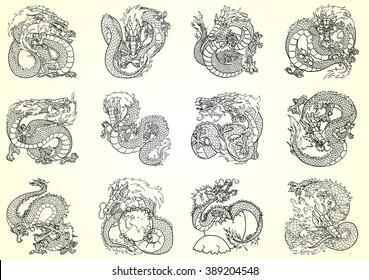 Set 12 Asian chinese dragon black contour on white background