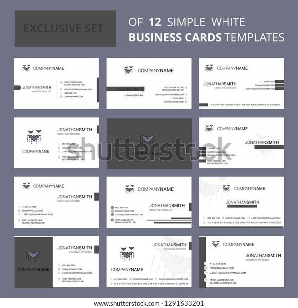 Bat Bus 12 >> Set 12 Bat Creative Busienss Card Stock Vector Royalty Free