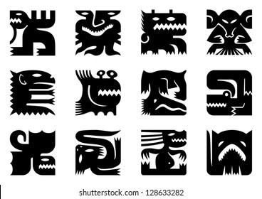Set of 12 black icons of fantasy monsters. Isolated on white.