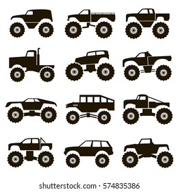 Set of 12 black icons vector different monster truck