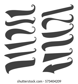 Set of 12 Black Swoops, Swishes, Swashes  and Waves  for print, web design and more. Vector.  Isolated