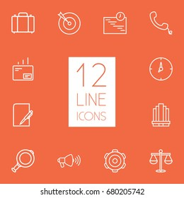 Set Of 12 Business Outline Icons Set.Collection Of Handset, Scales, Paper Elements.