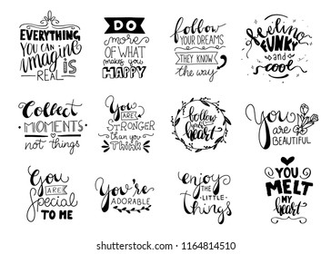 Set of 12 Card Posters Typography designs. Hand drawn lettering phrases. Modern motivating calligraphy decor. Scrapbooking or journaling cards with quotes.