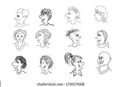 Set of 12 caricature faces, various facial expression comic cartoon style. Vector illustration isolated on white background