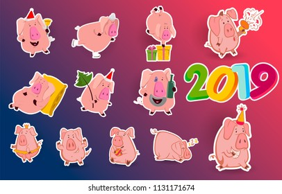Set of 12 chinese symbol of the 2019 year pig with different emotions. Vector isolated illustration. Creative design of the New Year's card in 2019 pig