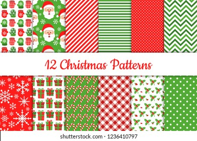 Set of 12 Christmas bright and cute patterns in red, green and white colors. Vector illustration.