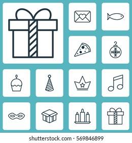 Set Of 12 Christmas Icons. Includes Gift, Corona, Celebration Letter And Other Symbols. Beautiful Design Elements.