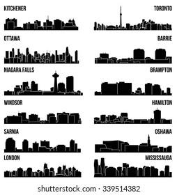 Set of 12 City Silhouette in Ontario, Canada ( Toronto, London, Barrie, Kitchener, Ottawa, Brampton, Windsor, Niagara Falls, Oshawa, Sarnia, Hamilton, Mississauga )