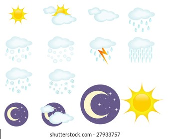 Set of 12 clear weather icons. Vector illustration.