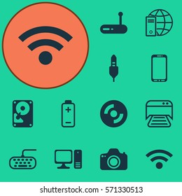 Set Of 12 Computer Hardware Icons. Includes Router, Camera, Aux Cord And Other Symbols. Beautiful Design Elements.