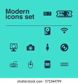 Set Of 12 Computer Hardware Icons. Includes Hdd, Dynamic Memory, Camera And Other Symbols. Beautiful Design Elements.
