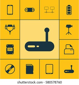 Set Of 12 Computer Hardware Icons. Includes Cpu, Smartphone, Router And Other Symbols. Beautiful Design Elements.