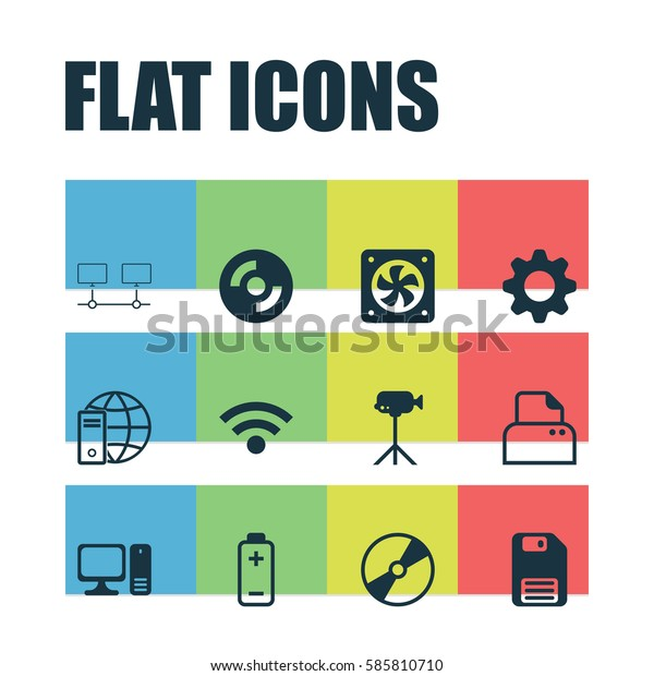 Set Of 12 Computer Hardware Icons. Includes Diskette, Cd-Rom, Computer Ventilation And Other Symbols. Beautiful Design Elements.