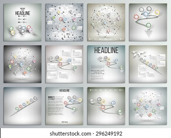 Set of 12 creative cards, square brochure template design. World map with pointer marks and other infographics set, templates vector illustration.