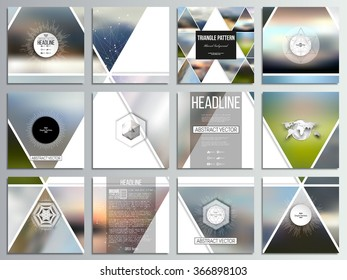 Set of 12 creative cards, square brochure template design. Abstract multicolored background of blurred nature landscapes, geometric vector, triangular style illustration.