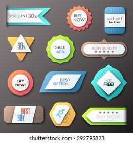 Set of 12 creative paper badges. Vector. Can be used for web design and  workflow layout