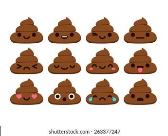 Set of 12 cute poop emoticons.