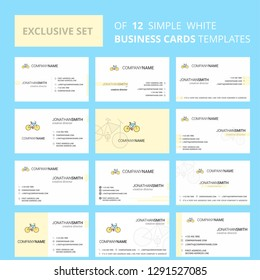 Set of 12 Cycle Creative Busienss Card Template. Editable Creative logo and Visiting card background