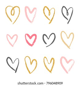 Set of 12 decorative hearts. Hand drawn colorful messy shapes isolated on white background. Stylish vector design elements for valentines day, wedding or logo creation.