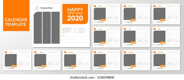 Set of 12 Desk Calendar 2020 from January to December page with Image Placeholder. Easy to edit and place your Image.