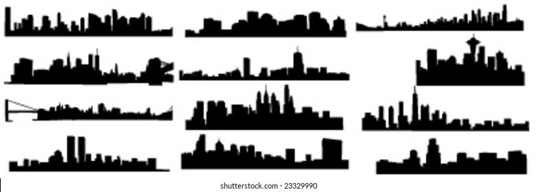 set of 12 diferens skylines of new york, boston and pfiladelphia chicago and seatle