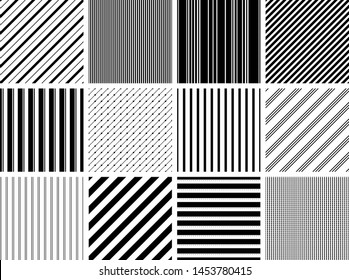 Set of 12 Different Stripe Seamless Patterns