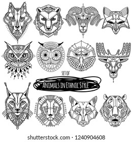 Set of 12 drawings of wild animals in ethnic style. Vector hand drawn illustration, totem, tattoo design, ethnic logo