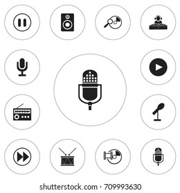 Set Of 12 Editable Audio Icons. Includes Symbols Such As Melody Seeking, Memory, Disco Club And More. Can Be Used For Web, Mobile, UI And Infographic Design.