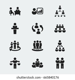 Set Of 12 Editable Business Icons. Includes Symbols Such As Speaker, Meeting, Command. Can Be Used For Web, Mobile, UI And Infographic Design.