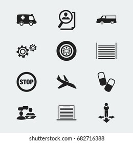 Set Of 12 Editable Complex Icons. Includes Symbols Such As Dialogue, Stop, Search And More. Can Be Used For Web, Mobile, UI And Infographic Design.