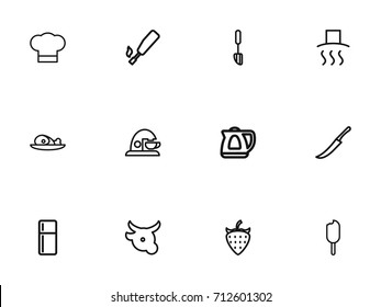 Set Of 12 Editable Cook Outline Icons. Includes Symbols Such As Cover, Spatula, Cow And More. Can Be Used For Web, Mobile, UI And Infographic Design.