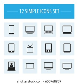 Set Of 12 Editable Devices Icons. Includes Symbols Such As Smartphone, Screen, Television And More. Can Be Used For Web, Mobile, UI And Infographic Design.