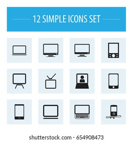 Set Of 12 Editable Devices Icons. Includes Symbols Such As Monitor, Clavier, Screen And More. Can Be Used For Web, Mobile, UI And Infographic Design.