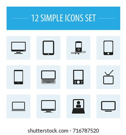 Set Of 12 Editable Devices Icons. Includes Symbols Such As Screen, Notebook, Television And More. Can Be Used For Web, Mobile, UI And Infographic Design.