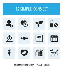 Set Of 12 Editable Exercise Icons. Includes Symbols Such As Strong Love, Slimming, Training And More. Can Be Used For Web, Mobile, UI And Infographic Design.
