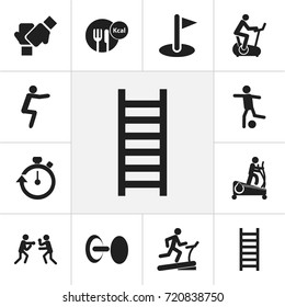 Set Of 12 Editable Exercise Icons. Includes Symbols Such As Stopwatch, Strength, Fight And More. Can Be Used For Web, Mobile, UI And Infographic Design.
