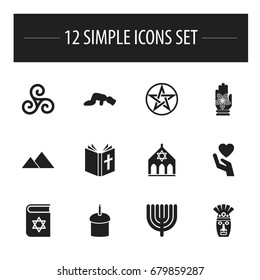 Set Of 12 Editable Faith Icons. Includes Symbols Such As Shaman, Spring Pie, Sajdah And More. Can Be Used For Web, Mobile, UI And Infographic Design.