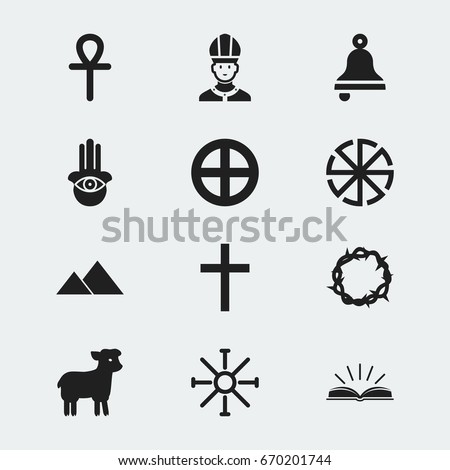 Set 12 Editable Faith Icons Includes Stock Vector Royalty Free