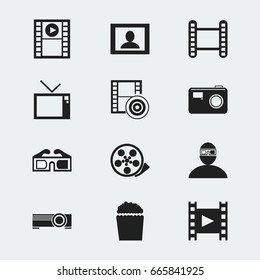 Set Of 12 Editable Filming Icons. Includes Symbols Such As Screen, Play Video, Retro Television And More. Can Be Used For Web, Mobile, UI And Infographic Design.