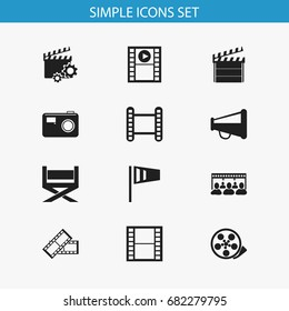 Set Of 12 Editable Filming Icons. Includes Symbols Such As Tape, Movie Strip, Clapperboard And More. Can Be Used For Web, Mobile, UI And Infographic Design.