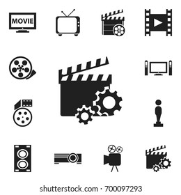 Set Of 12 Editable Filming Icons. Includes Symbols Such As Film, Tape, Oscar And More. Can Be Used For Web, Mobile, UI And Infographic Design.