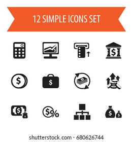 Set Of 12 Editable Finance Icons. Includes Symbols Such As Money-Guard, Building, Greenback And More. Can Be Used For Web, Mobile, UI And Infographic Design.