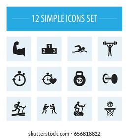 Set Of 12 Editable Fitness Icons. Includes Symbols Such As Biceps, Bodybuilding, Stopwatch And More. Can Be Used For Web, Mobile, UI And Infographic Design.