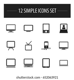 Set Of 12 Editable Gadget Icons. Includes Symbols Such As Telly, Television, Tablet Phone And More. Can Be Used For Web, Mobile, UI And Infographic Design.