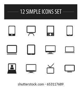 Set Of 12 Editable Gadget Icons. Includes Symbols Such As Music Phone, Smartphone, Screen And More. Can Be Used For Web, Mobile, UI And Infographic Design.