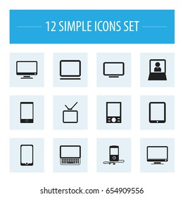 Set Of 12 Editable Gadget Icons. Includes Symbols Such As Tablet Phone, Computer, Telly And More. Can Be Used For Web, Mobile, UI And Infographic Design.