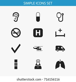 Set Of 12 Editable Hospital Icons. Includes Symbols Such As Clinic, Medical Aviation, Drug And More. Can Be Used For Web, Mobile, UI And Infographic Design.