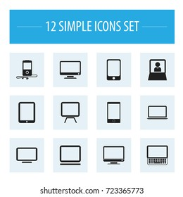 Set Of 12 Editable Instrument Icons. Includes Symbols Such As Tv, Screen, Smartphone And More. Can Be Used For Web, Mobile, UI And Infographic Design.