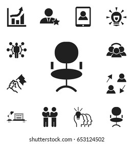 Set Of 12 Editable Job Icons. Includes Symbols Such As Ergonomic Seat, Rally, Talent And More. Can Be Used For Web, Mobile, UI And Infographic Design.